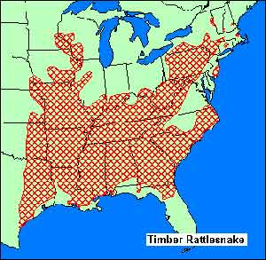 Catskill Mtns Snakes - Map of rattlesnakes in us