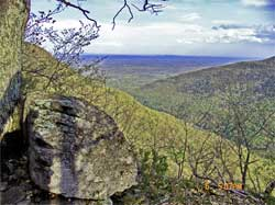 hiker injures her leg on the southern part of the Escarpment Trail in the Catskill mountains on august 18, 2020.