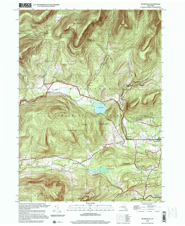 USGS Topo Map Bearsville Catskill Mountains - Usgs quad maps