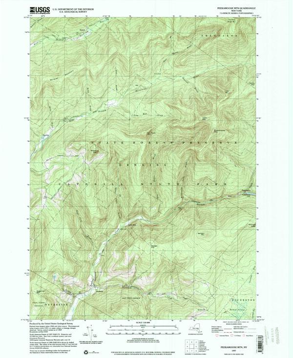 USGS Topo Map Peekamoose Catskill Mountains - Usgs quad maps